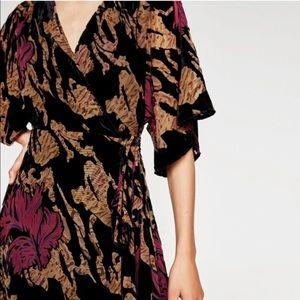 Zara Dresses - Boho Holiday Velvet Midi Wrap Dress